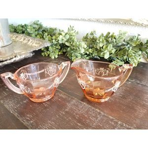 Antique Pink Depression Glass Cream & Sugar Bowl